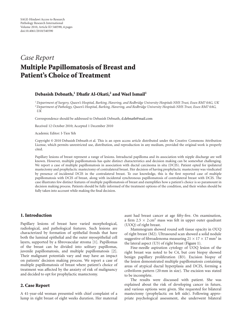 Intraductal papilloma and dcis - Hpv in uvula