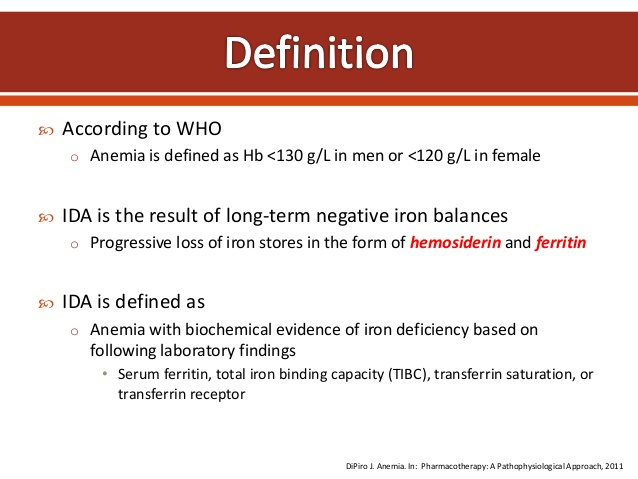 anemia who definition sarcoma cancer pain