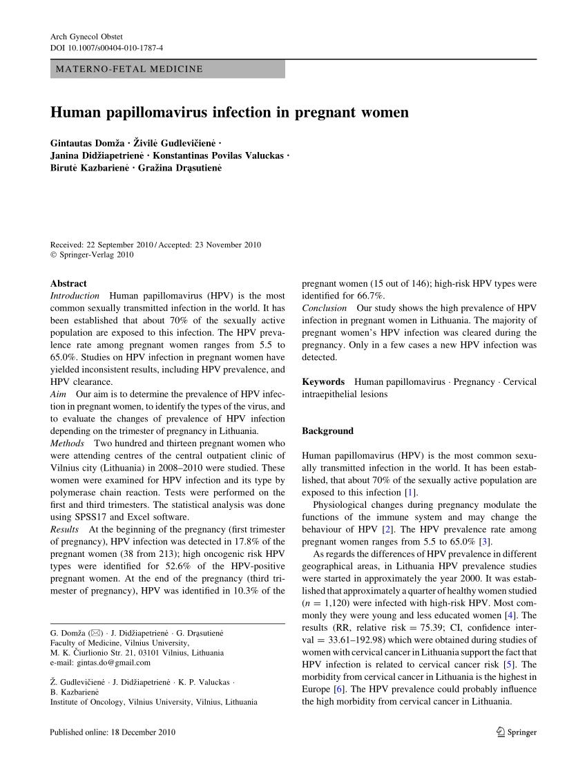 Human papillomavirus infection pregnancy