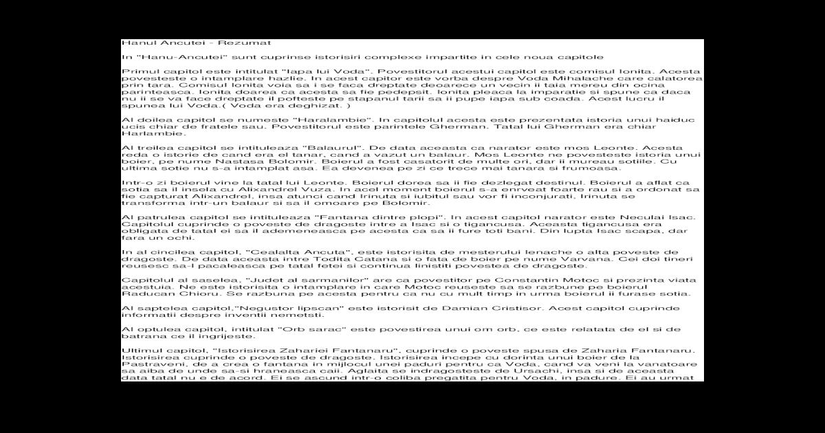 Zodia cancerului sau vremea ducai-voda (fragment comentat) referat
